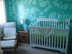 Tiffany blue nursery Love the letters on the wall!
