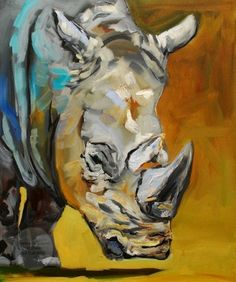 ARTOUTWEST+DAILY+PAINTING+MARCH+21+RHINO+ANIMAL+ART,+painting+by+artist+Diane+Whitehead