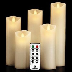 """Flameless Candles- Flickering Flameless Candles LED Candles Set 5"""" 6"""" 7"""" 8"""" 9"""" Battery Candles Real Wax Pillar with10-key Remote Control Timer Candle Flameless - 2/4/6/8 Hours Timer comenzar"""