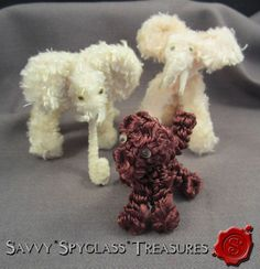 Vintage Chenille and Pipe Cleaner Elephant and Poodle Dog Toys