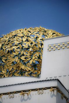 Gold leaf architectural detail on the façade of the Vienna Secession building