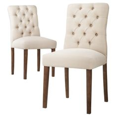 Need a set of these for each end of the dining room table. Threshold™ Brookline Tufted Dining Chair - Set of 2 Comfortable Dining Chairs, Tufted Dining Chairs, Dining Chair Set, Target Dining Chairs, Cheap Dining Chairs, Desk Chairs, Office Chairs, Lounge Chairs, Dining Tables