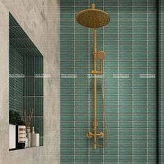 With crystal glazed glossy surface, finger shape porcelain mosaic combines well with the pumpkin color shower head, adding vibe to your interior space. Just like this shower room! Mosaic Art, Mosaic Tiles, Wall Tiles, Pumpkin Colors, Interior Inspiration, Home Improvement, Interior Decorating, Porcelain, Wall Decor