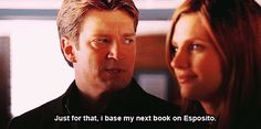 See, the greatest thing about this scene is that Beckett's actually, legitimately upset by the idea of him no longer basing books on her. Quite a change from 'I'M GONNA KILL YOU,' wouldn't you say?