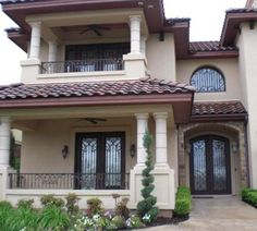 - Wrought Iron Doors, Windows, Gates, & Railings from Cantera Doors Dream House Plans, Modern House Plans, Steel Doors And Windows, Mexico House, Villa, Mediterranean Homes, Iron Doors, Exterior House Colors, House Front