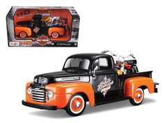 1948 Ford F 1 Pickup Truck Harley Davidson With 1948 FL Panhead Motorcycle Orange/Black by Maisto Harley Davidson Night Train, Harley Davidson Cake, Harley Davidson Roadster, Harley Davidson Posters, Harley Davidson Wallpaper, Harley Davidson Panhead, Davidson Bike, Ford Trucks, Pickup Trucks