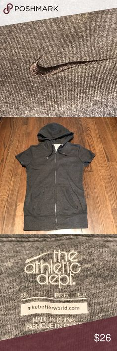 New! Nike Cap Sleeve Hoody New! Washed but never worn. Full zip. Cap sleeves. Ultra soft material. Super cute. Too small for me post pregnancy. The tag says XS but I think it fits more like a S - small so I am listing it as a S. Nike Tops Sweatshirts & Hoodies