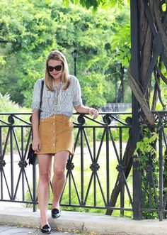 Central Park NYC wearing @UrbanOutfitters button front mini skirt and patent loafers
