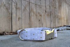 Heart Dog Collar Grey and Gold Heart Dog Collar by SitStayStitch