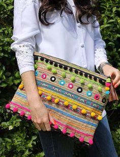 Oversized Ethnic Embellished Clutch Bag by RENIQLO on Etsy, £25.00
