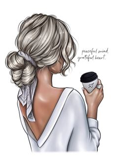 Fashion Illustration Hair, Illustration Girl, Coffee Illustration, Art Illustrations, Girl Cartoon, Cartoon Art, Fashion Prints, Fashion Art, Paper Fashion