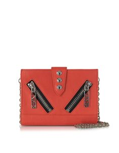 Kenzo Coral Red Leather Kalifornia Wallet Clutch w/Chain Strap at FORZIERI