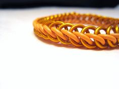 Orange Stretchy Half Persian Chainmaille Bracelet by MelonLove, $12.00