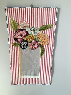 Textile art collage - Modern wall hanging - vase with flowers by judithadesigns09 on Etsy