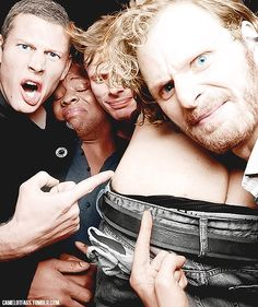 Funny picture I found on tumblr of Tom Hopper, Adetomiwa Edun, Bradley James, Rupert Young and Eoin Macken's butt!