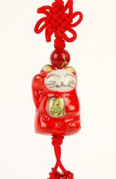Ceramic Maneki Neko Prosperity Kitty Charm