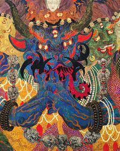 jareckiworld: Kaneko Tomiyuki - 妖怪 (Yōkai) [mineral pigments Japanese ink transparent watercolor acrylic pen foil on Japanese paper Esoteric Art, Arte Pop, Psychedelic Art, Surreal Art, Art And Illustration, Occult, Asian Art, Japanese Art, Oeuvre D'art