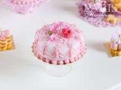 ♡ ♡  Beautiful Pink Rose Petal Cake - Miniature Food (Pink Collection 2014)