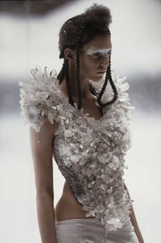 McQueen, 'the Overlook' A/W . Rock crystal bodice worn by Hannelore Knutz created by Kees van der Graaf for Alexander McQueen . Talitha Getty, Rei Kawakubo, Studio 54, Cultura Rave, Givenchy, Alexander Mcqueen Dresses, Glamour, Horse Hair, Ann Demeulemeester