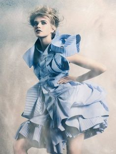 Soft baby blue makes a statement in this editorial look.