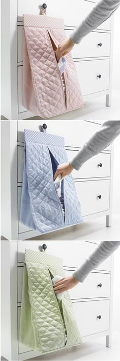 You can keep clean diapers organized and within easy reach at changing time with this handy diaper stacker. NANIG hangs by a touch-and-close fastener that easily loosens if a child should try to climb on it. Use it to store children's clothes in a wardrobe when your baby grows out of diapers.