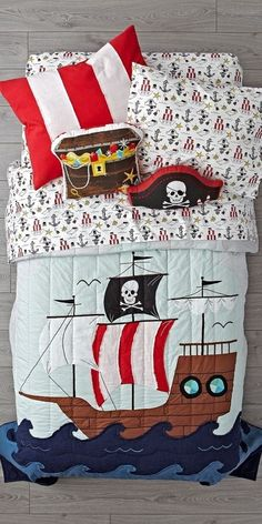 Shop Pirate Bedding.  Yo ho ho, our Pirate Bedding is ready to set sail.  Adorned with an embroidered pirate ship, as well as various printed elements, this 100% cotton bedding set is perfect for any kids bedroom.