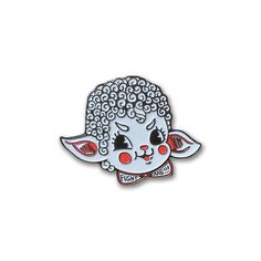 "Sassy+lamb+enamel+pin+featuring+printed+red+and+white+colors+on+a+plated+metal+layer+of+black+nickel+metal. A+rubber+backing+comes+with+each+pin. Measures+at+1.75""+x+1"" All+images+belong+to..."