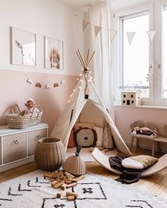minimalist girl bedroom decor with boho artwork and boho rug girl teepee in playroom decor neutral playroom design modern boho playroom design modern boho girl bedroom minimalist kid room decor Playroom Design, Playroom Decor, Baby Room Decor, Bedroom Decor, Bedroom Ideas, Kids Room Design, Home Design, Design Design, Modern Playroom