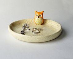 Handmade Ceramic Jewelry Dish with Owl