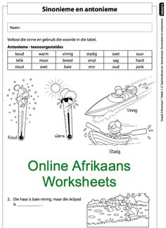 Education worksheets for Grade R - 12 - E-Classroom Autism Teaching, Preschool Learning, Classroom Themes, Classroom Activities, Math Clock, Afrikaans Language, Afrikaans Quotes, School Tool, Jethro