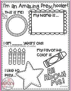 Free all about me preschool theme printable for pre-k or kindergarten class. All About Me Preschool Theme, All About Me Crafts, Preschool First Day, September Preschool, First Day Of School Activities, 1st Day Of School, Beginning Of The School Year, School Birthday, Preschool Lesson Plans