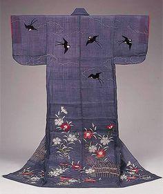 Kosode (proto-kimono), early 19th century, Japan - Katabira with design of pinks, brushwood fences and swallows in resist dyeing and embroidery on pale purple bast-fiber clothLate Edo PeriodMatsuzakaya Kimono Museum