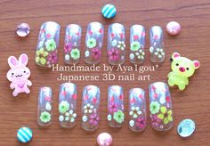 Japanese nail art 12 pieces clear long nails with by Aya1gou, $18.50
