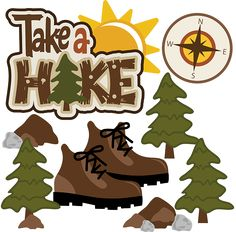 Like the idea/wording-Take A Hike SVG Scrapbook Collection outdoors svg files camping svg files for scrapbooking Scrapbook Titles, Scrapbooking Layouts, Digital Scrapbooking, Scrapbook Supplies, Camping Clipart, Hiking Quotes, Camping Theme, Camping Stuff, Cute Clipart