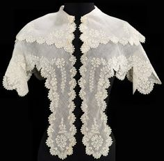 Women during the Romantic period would wear perelines, which were wide, cape like collars that extended over the shoulders and down across the bosom.  They were very popular and added decoration to outfits.