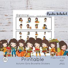 Autumn Girls Brunette Printable Stickers Large Medium and