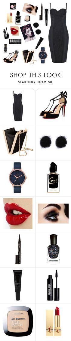 """Black life"" by paustukas ❤ liked on Polyvore featuring Dolce&Gabbana, Christian Louboutin, Nixon, Giorgio Armani, Smith & Cult, Deborah Lippmann, Allies of Skin, Arbonne, Edward Bess and L'Oréal Paris"