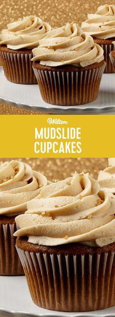 Mudslice Cupcakes Recipe - Make these easy rmudslide cupcake recipe that include the luscious flavor of Irish liqueur and instant coffee granules. This recipe makes about 24 cupcakes.