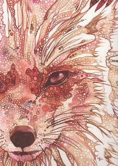 Rust Fox 5 x 7 print of detailed watercolour painting artwork in surreal red rusty orange vibrant colour painted with tiny bubbles & detail