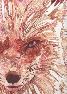 Traces de rouille Fox 5 x 7 impression de peinture à l'aquarelle renard rouge orange rouille, peint de couleurs vives