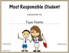 Education Certificates - Most Responsible Student Award . Education Certificate, Student Awards, In A Nutshell, Year 2, Teacher Stuff, Classroom Ideas, Free Printables, No Response, Sunrise