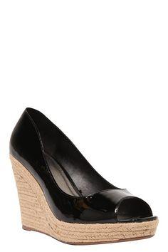 e963be7dd2c Billie Black Patent Peep Toe Wedge (Wide Width)