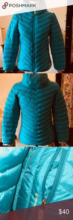 LIL GIRLS SZ 10/12💕SUPER AWESOME PUFFY JACKET~NWT This puffer has a hidden picket inside, a place to attaché headphones and an area where you can write there name and info on the inside. The super soft gray velvety fleece inside is such a nice touch and will keep your child so warm. It's turquoise in color Champion Jackets & Coats Puffers