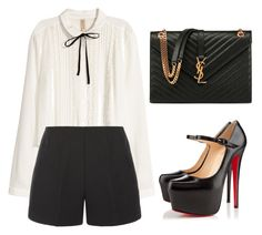 """""""WHITE BLOUSE"""" by tania-alves ❤ liked on Polyvore featuring H&M, TIBI, Christian Louboutin and Yves Saint Laurent"""