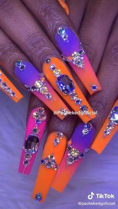 Rhinestone Nails, Bling Nails, Swag Nails, Grunge Nails, Dope Nail Designs, Cute Acrylic Nail Designs, Exotic Nail Designs, Acrylic Nails Coffin Pink, Fall Acrylic Nails