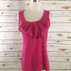 Ann Taylor M Dress Tank Cami Ruffle Neckline PINK Career Top Size MEDIUM NWT  | eBay
