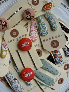 diy fabric covered bobby pins and hair clips #cute