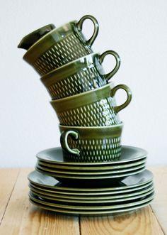 Stavangerflint - groen retro koffie set - Noorwegen