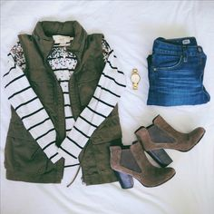 Army, sequins, and stripes.   (Ann Taylor LOFT top, Jcrew chino vest, AG jeans, Björndal booties, Kate Spade Gramercy Grand watch)