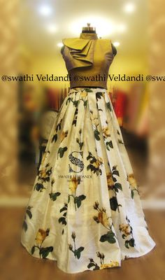 Beautiful white color floral skirt pairedup with ruffle crop top. call/watsapp:+918179668098